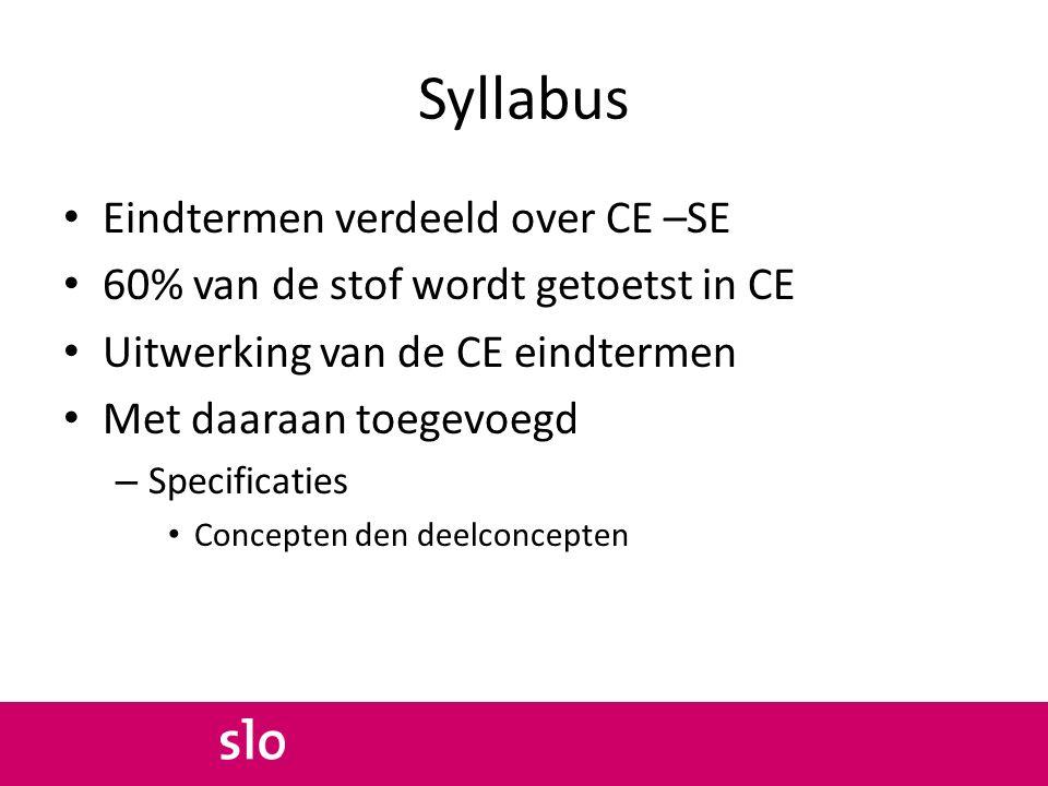 Syllabus Eindtermen verdeeld over CE –SE 60% van de stof wordt getoetst in CE Uitwerking van de CE eindtermen Met daaraan toegevoegd – Specificaties Concepten den deelconcepten