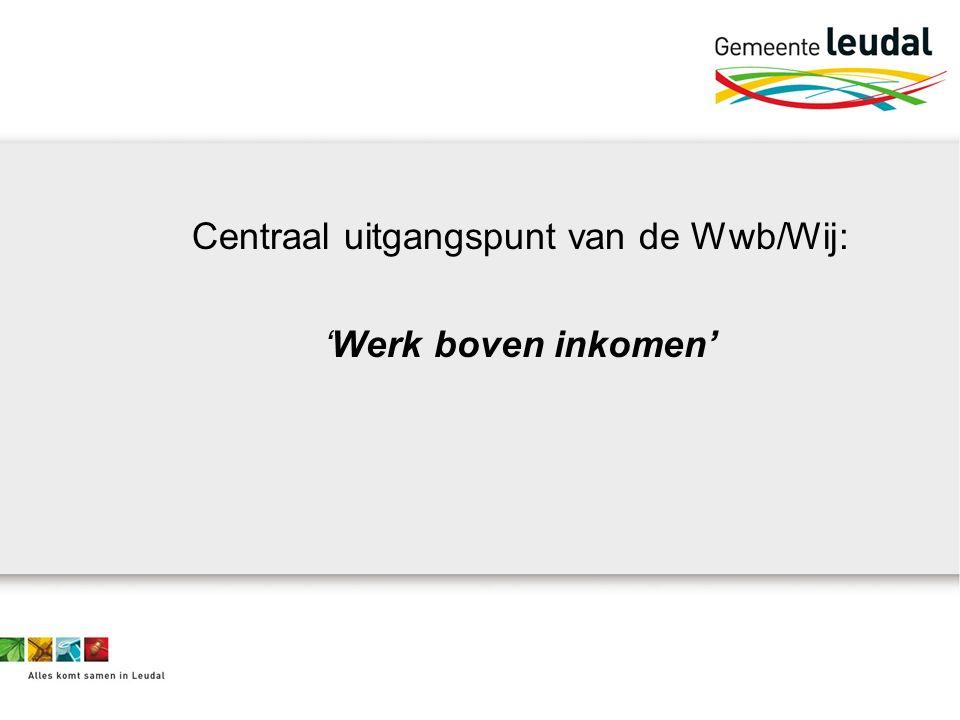 Centraal uitgangspunt van de Wwb/Wij: 'Werk boven inkomen'