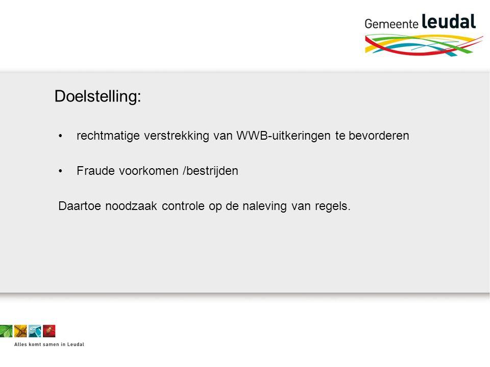 rechtmatige verstrekking van WWB-uitkeringen te bevorderen Fraude voorkomen /bestrijden Daartoe noodzaak controle op de naleving van regels.