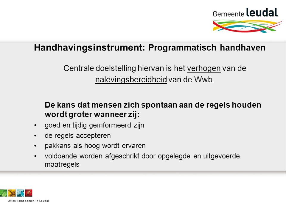 Handhavingsinstrument : Programmatisch handhaven Centrale doelstelling hiervan is het verhogen van de nalevingsbereidheid van de Wwb.