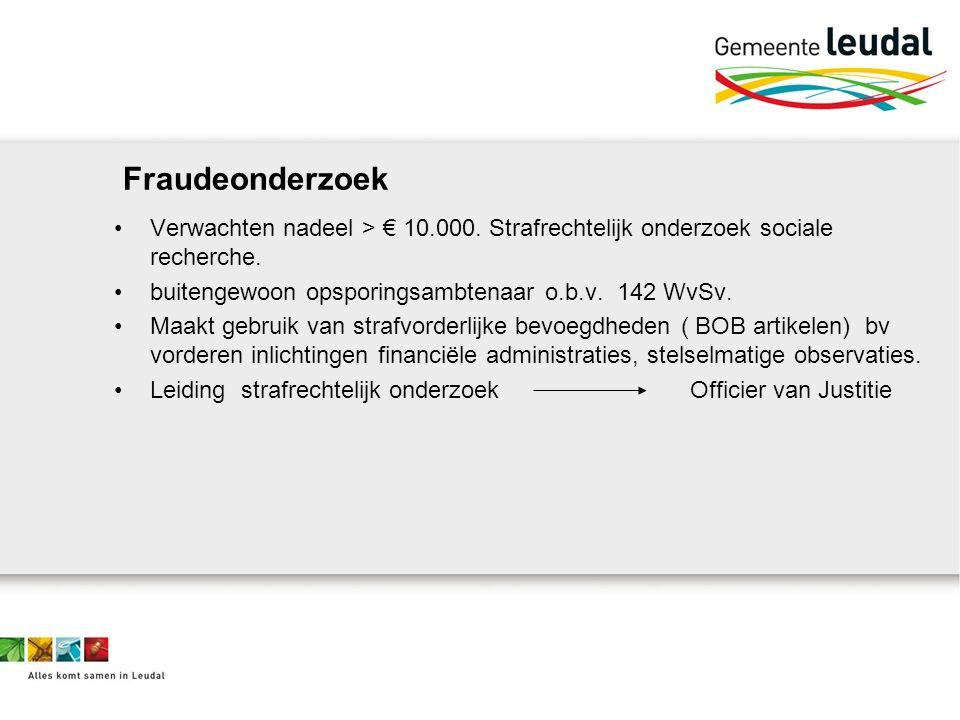 Fraudeonderzoek Verwachten nadeel > € 10.000. Strafrechtelijk onderzoek sociale recherche.