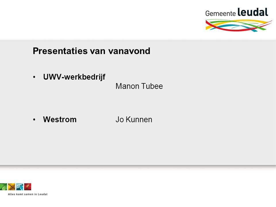 Presentaties van vanavond UWV-werkbedrijf Manon Tubee WestromJo Kunnen