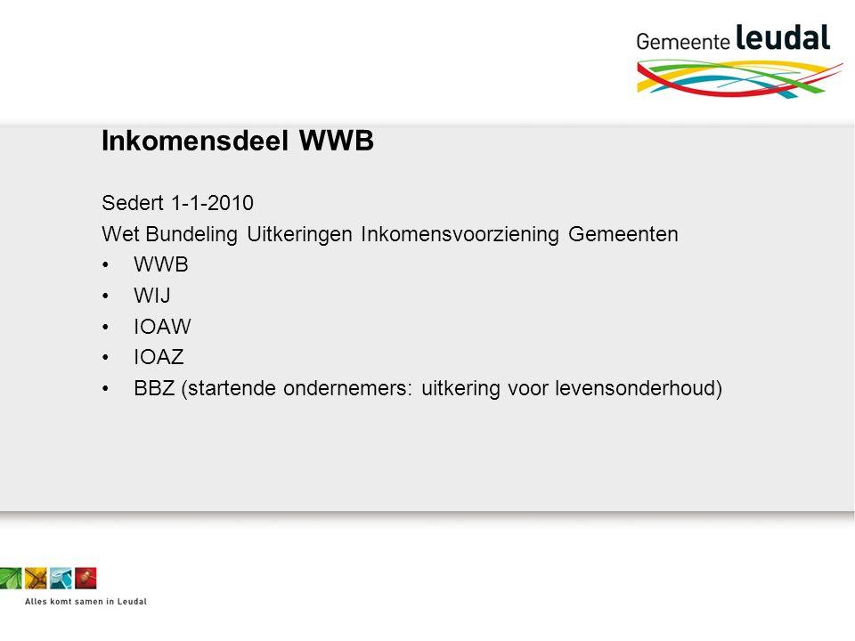 Inkomensdeel WWB Sedert 1-1-2010 Wet Bundeling Uitkeringen Inkomensvoorziening Gemeenten WWB WIJ IOAW IOAZ BBZ (startende ondernemers: uitkering voor levensonderhoud)