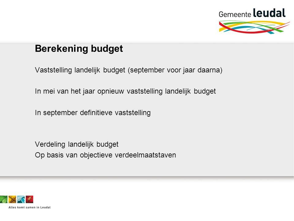 Berekening budget Vaststelling landelijk budget (september voor jaar daarna) In mei van het jaar opnieuw vaststelling landelijk budget In september definitieve vaststelling Verdeling landelijk budget Op basis van objectieve verdeelmaatstaven
