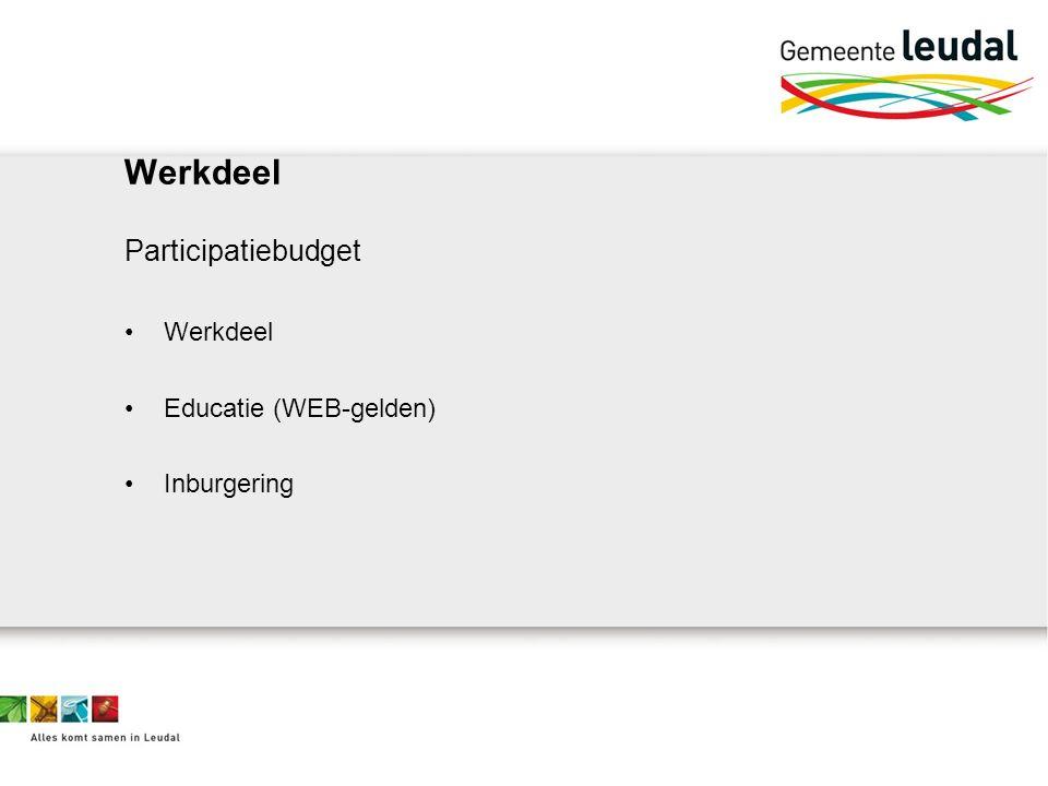 Werkdeel Participatiebudget Werkdeel Educatie (WEB-gelden) Inburgering