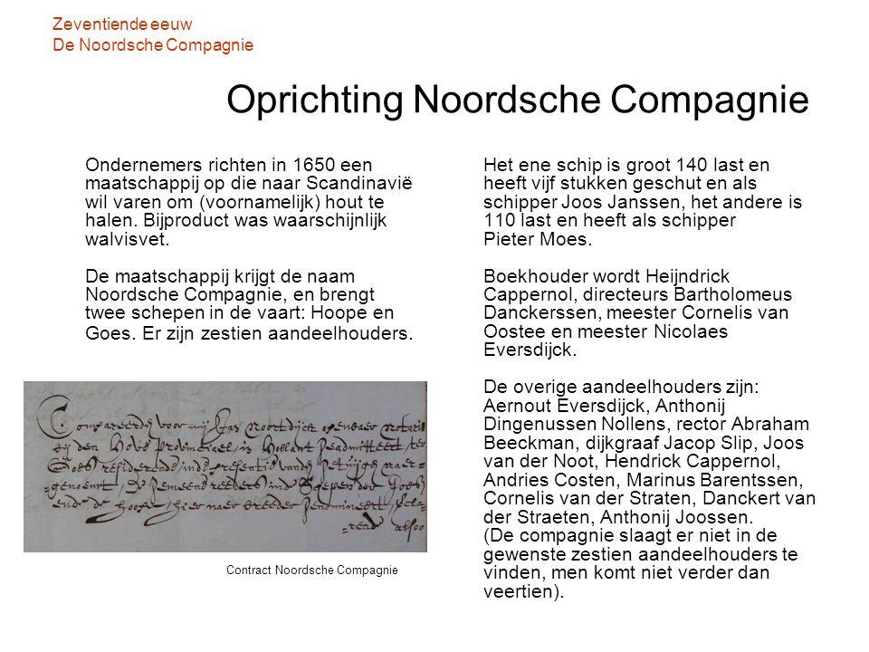 Zeventiende eeuw De Noordsche Compagnie Oprichting Noordsche Compagnie Ondernemers richten in 1650 een maatschappij op die naar Scandinavië wil varen