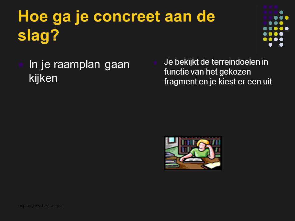 insp-beg RKG Antwerpen Hoe ga je concreet aan de slag? In je raamplan gaan kijken Je bekijkt de terreindoelen in functie van het gekozen fragment en j