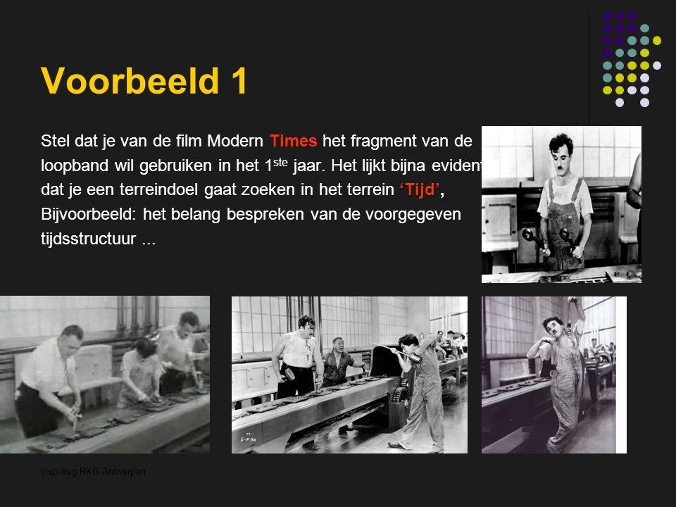 insp-beg RKG Antwerpen Voorbeeld 1 Stel dat je van de film Modern Times het fragment van de loopband wil gebruiken in het 1 ste jaar. Het lijkt bijna