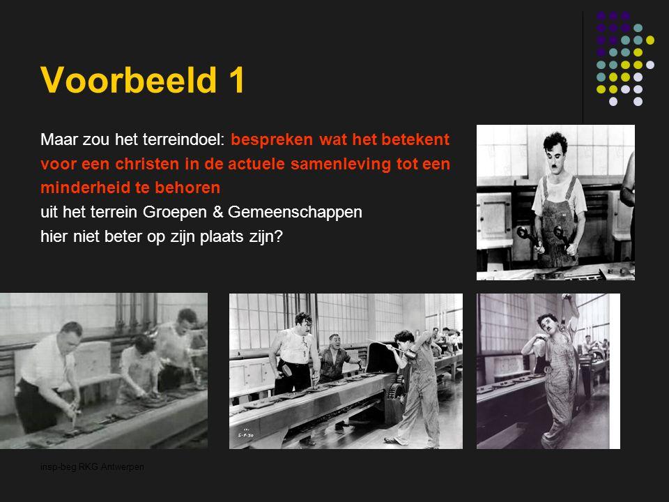 insp-beg RKG Antwerpen Voorbeeld 1 Maar zou het terreindoel: bespreken wat het betekent voor een christen in de actuele samenleving tot een minderheid te behoren uit het terrein Groepen & Gemeenschappen hier niet beter op zijn plaats zijn