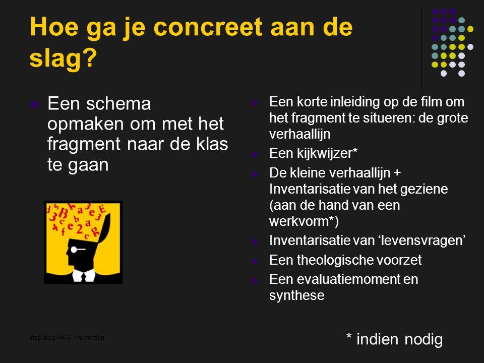 insp-beg RKG Antwerpen Hoe ga je concreet aan de slag? Een schema opmaken om met het fragment naar de klas te gaan Een korte inleiding op de film om h