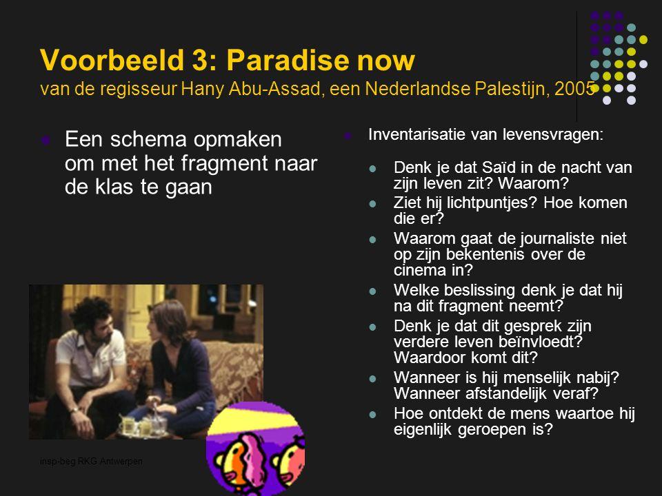 insp-beg RKG Antwerpen Voorbeeld 3: Paradise now van de regisseur Hany Abu-Assad, een Nederlandse Palestijn, 2005 Een schema opmaken om met het fragment naar de klas te gaan Inventarisatie van levensvragen: Denk je dat Saïd in de nacht van zijn leven zit.