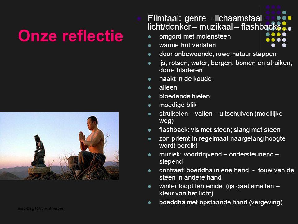 insp-beg RKG Antwerpen Onze reflectie Filmtaal: genre – lichaamstaal – licht/donker – muzikaal – flashbacks … omgord met molensteen warme hut verlaten