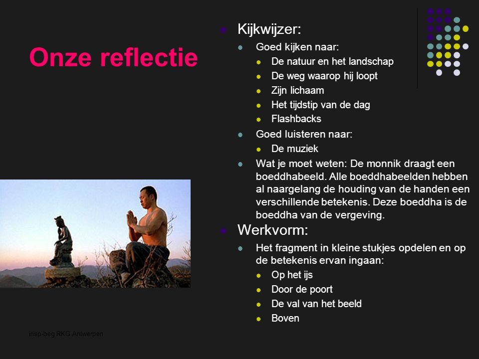 insp-beg RKG Antwerpen Onze reflectie Kijkwijzer: Goed kijken naar: De natuur en het landschap De weg waarop hij loopt Zijn lichaam Het tijdstip van d