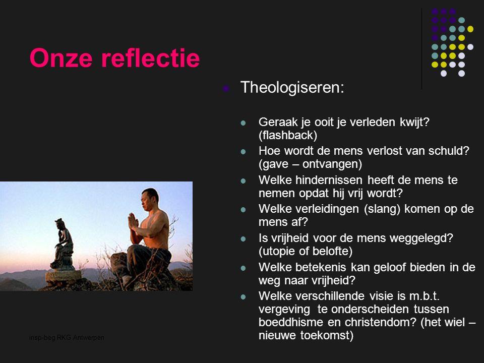 insp-beg RKG Antwerpen Onze reflectie Theologiseren: Geraak je ooit je verleden kwijt? (flashback) Hoe wordt de mens verlost van schuld? (gave – ontva