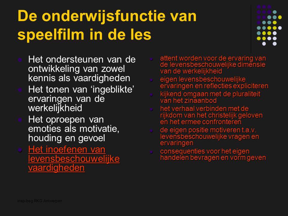 insp-beg RKG Antwerpen De onderwijsfunctie van speelfilm in de les Het ondersteunen van de ontwikkeling van zowel kennis als vaardigheden Het tonen va