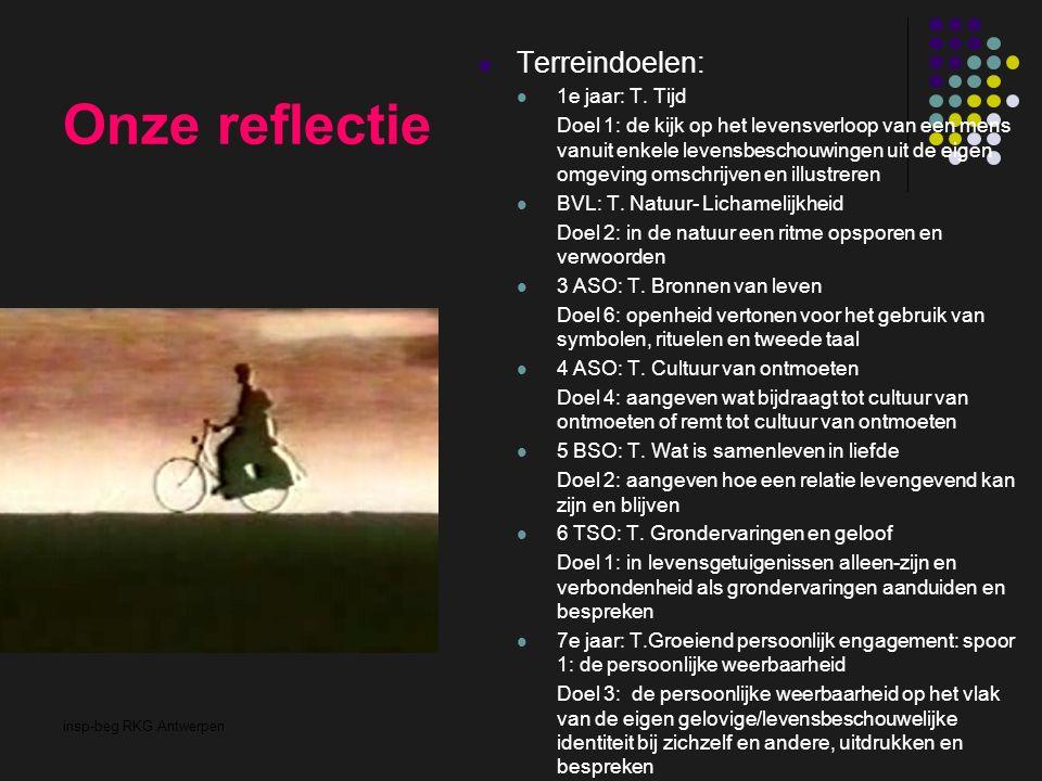 insp-beg RKG Antwerpen Onze reflectie Terreindoelen: 1e jaar: T. Tijd Doel 1: de kijk op het levensverloop van een mens vanuit enkele levensbeschouwin