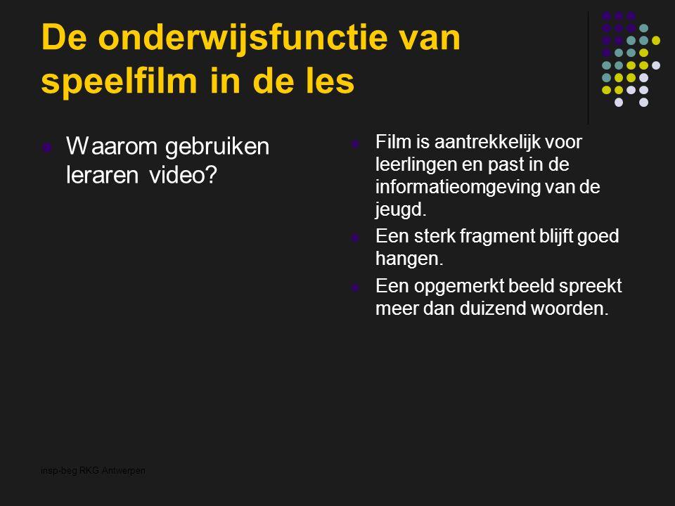 insp-beg RKG Antwerpen De onderwijsfunctie van speelfilm in de les Waarom gebruiken leraren video? Film is aantrekkelijk voor leerlingen en past in de