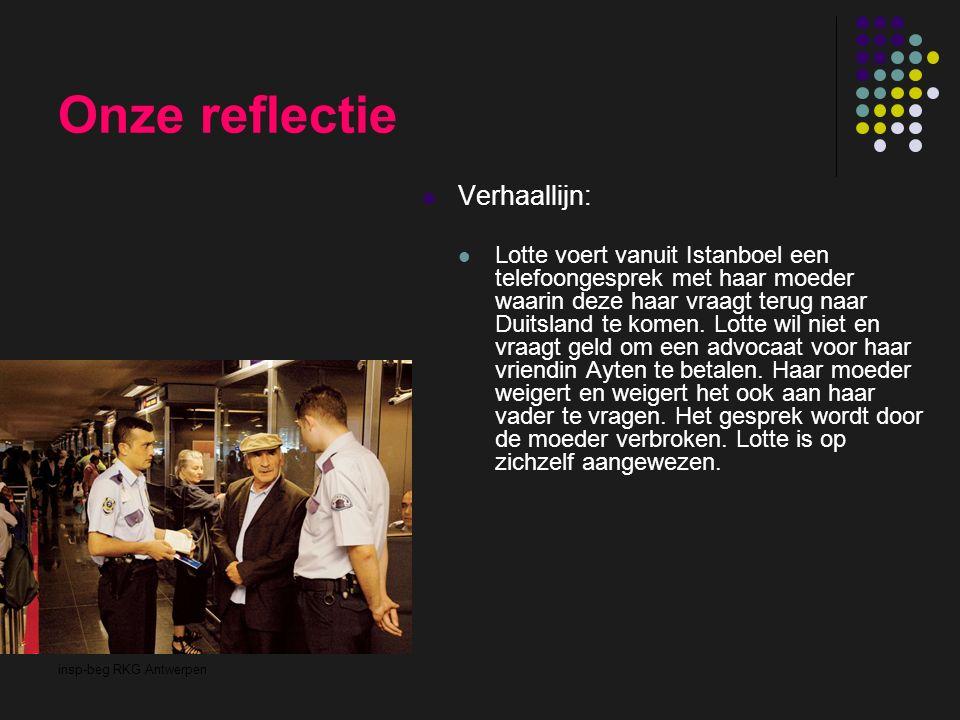 insp-beg RKG Antwerpen Onze reflectie Verhaallijn: Lotte voert vanuit Istanboel een telefoongesprek met haar moeder waarin deze haar vraagt terug naar