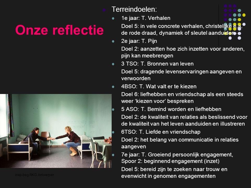insp-beg RKG Antwerpen Onze reflectie Terreindoelen: 1e jaar: T. Verhalen Doel 5: in vele concrete verhalen, christelijke e.a. de rode draad, dynamiek