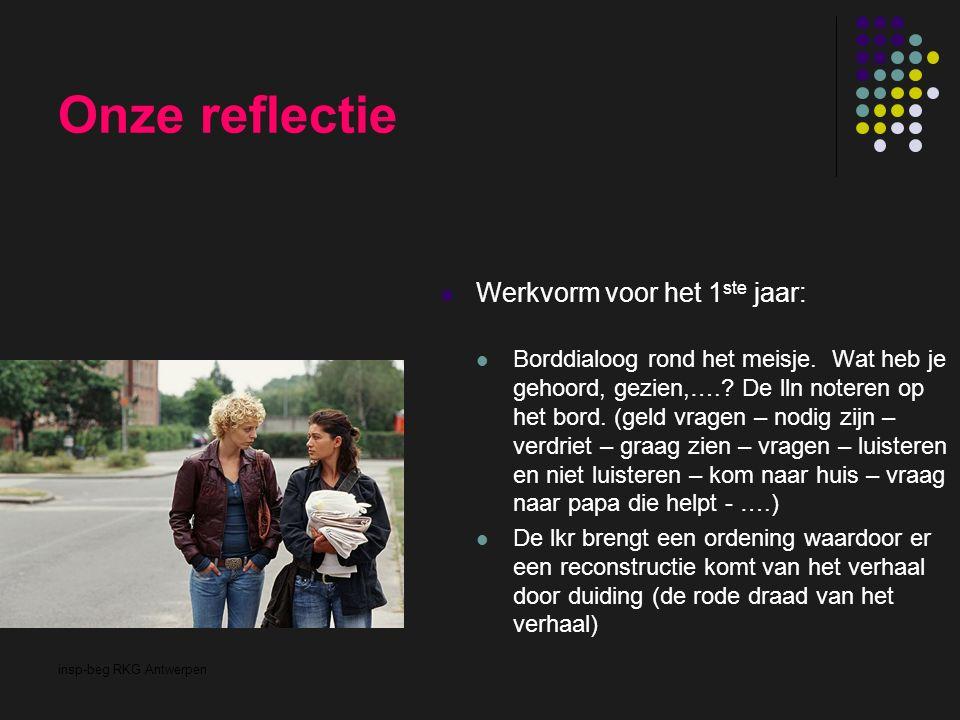insp-beg RKG Antwerpen Onze reflectie Werkvorm voor het 1 ste jaar: Borddialoog rond het meisje. Wat heb je gehoord, gezien,….? De lln noteren op het