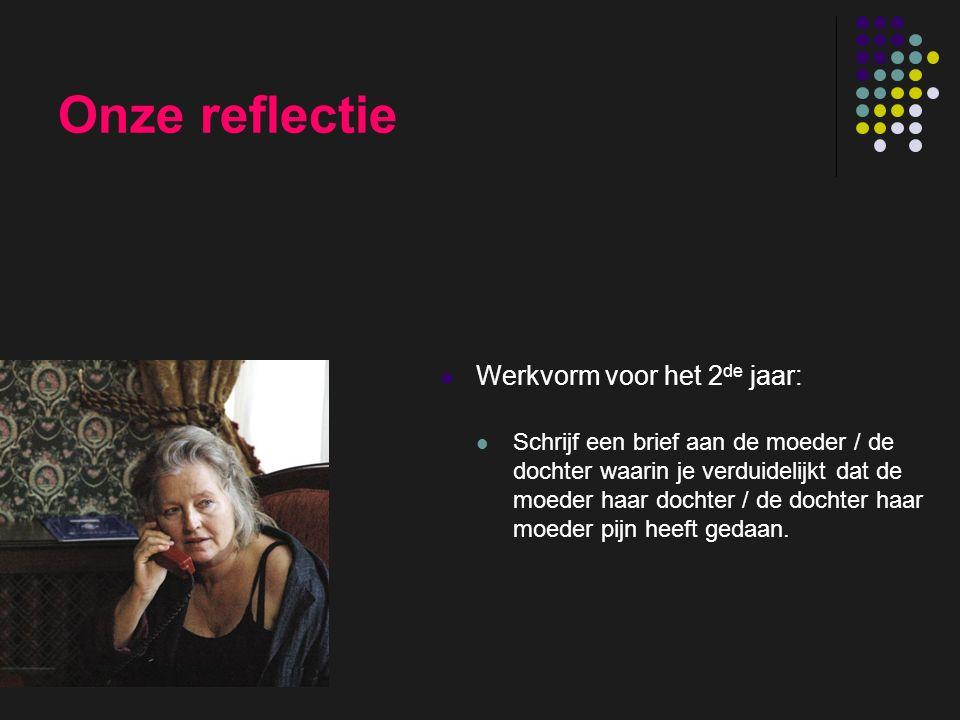 insp-beg RKG Antwerpen Onze reflectie Werkvorm voor het 2 de jaar: Schrijf een brief aan de moeder / de dochter waarin je verduidelijkt dat de moeder haar dochter / de dochter haar moeder pijn heeft gedaan.
