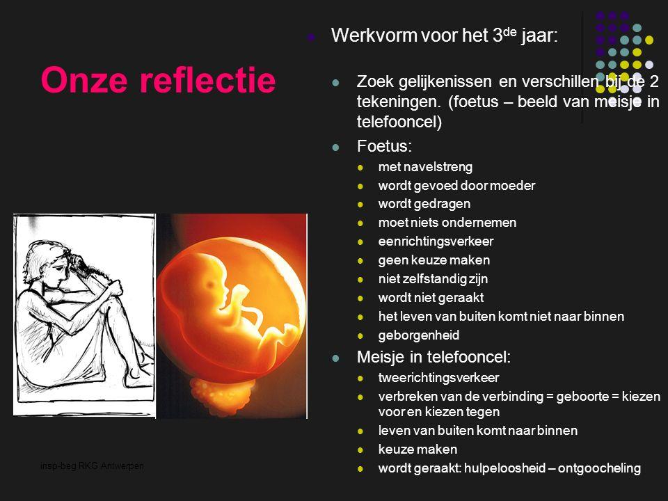 insp-beg RKG Antwerpen Onze reflectie Werkvorm voor het 3 de jaar: Zoek gelijkenissen en verschillen bij de 2 tekeningen. (foetus – beeld van meisje i