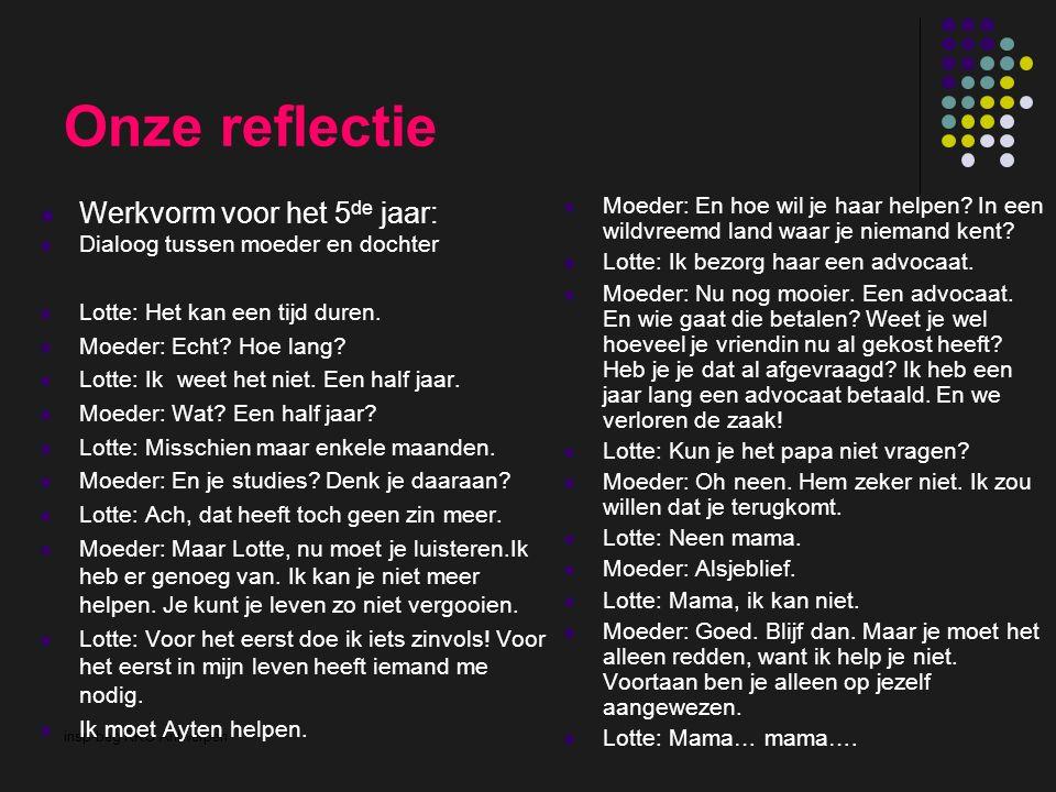 insp-beg RKG Antwerpen Onze reflectie Werkvorm voor het 5 de jaar: Dialoog tussen moeder en dochter Lotte: Het kan een tijd duren. Moeder: Echt? Hoe l
