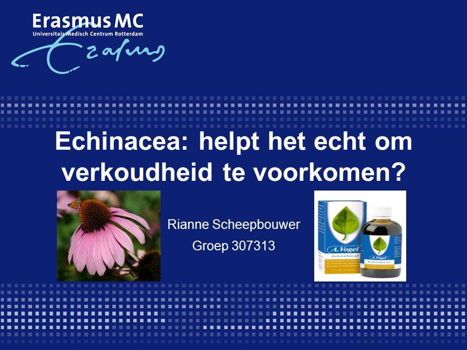 Beoordeling: resultaat (3)  Vergelijking tussen Echinacea vs placebo om een verkoudheid te voorkomen.