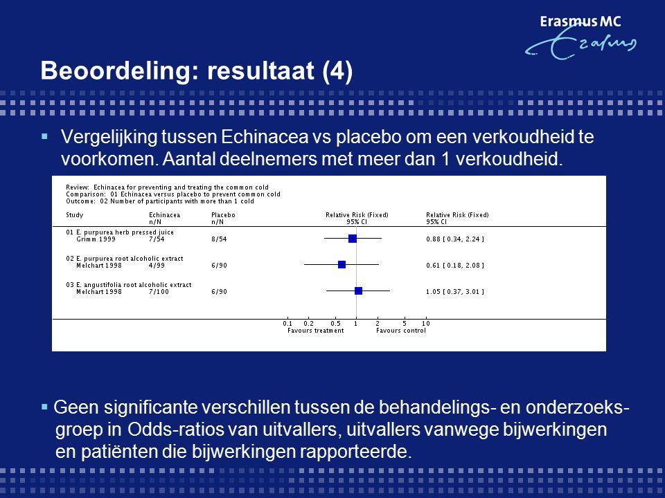 Beoordeling: resultaat (4)  Vergelijking tussen Echinacea vs placebo om een verkoudheid te voorkomen.
