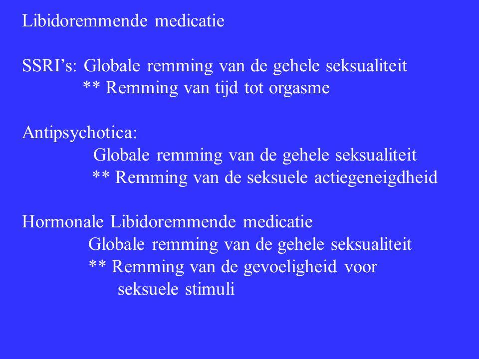 Libidoremmende medicatie SSRI's: Globale remming van de gehele seksualiteit ** Remming van tijd tot orgasme Antipsychotica: Globale remming van de geh