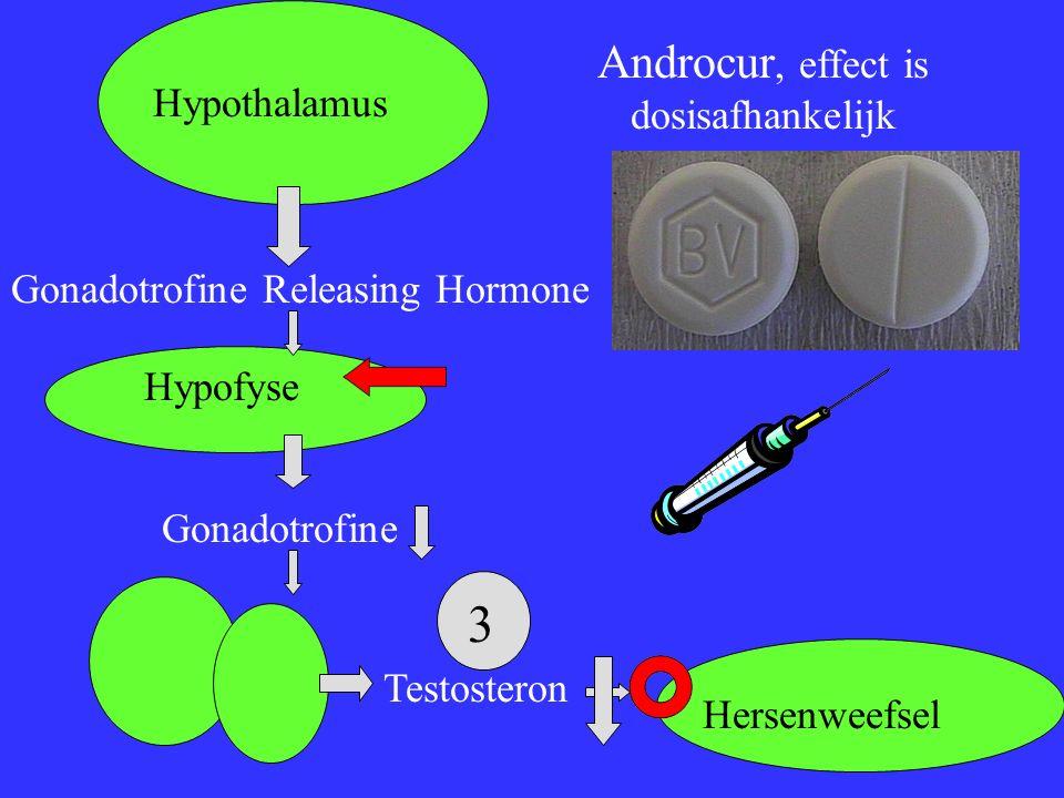 Hypothalamus Gonadotrofine Releasing Hormone Hypofyse Gonadotrofine Testosteron Hersenweefsel Androcur, effect is dosisafhankelijk 3