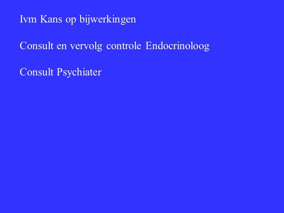 Ivm Kans op bijwerkingen Consult en vervolg controle Endocrinoloog Consult Psychiater