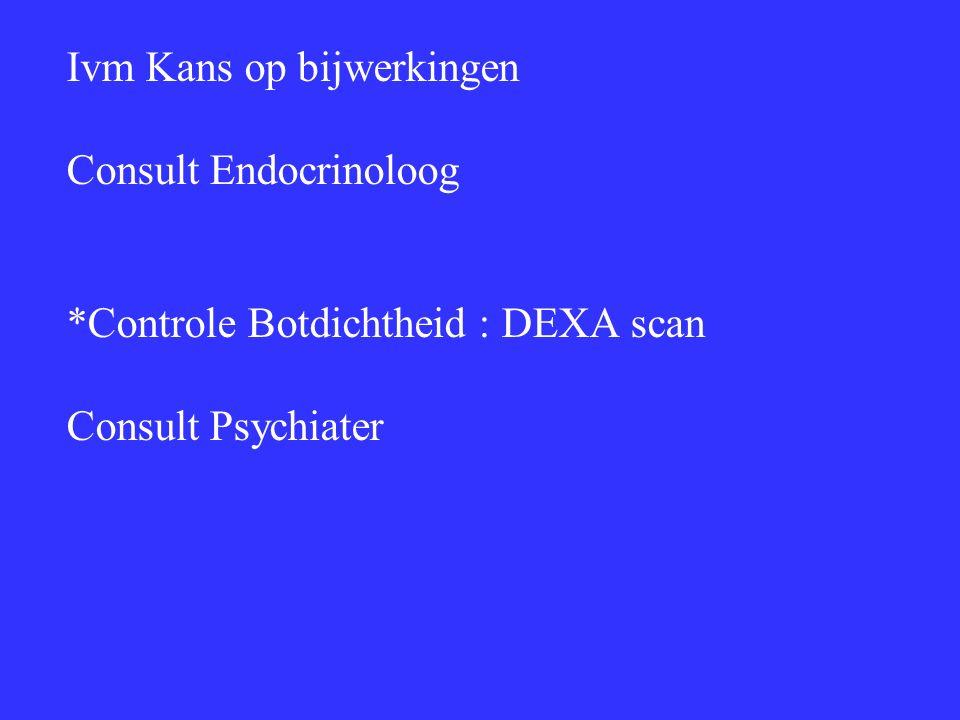 Ivm Kans op bijwerkingen Consult Endocrinoloog *Controle Botdichtheid : DEXA scan Consult Psychiater