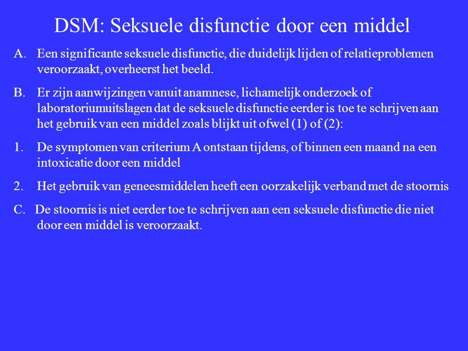 DSM: Seksuele disfunctie door een middel A.Een significante seksuele disfunctie, die duidelijk lijden of relatieproblemen veroorzaakt, overheerst het