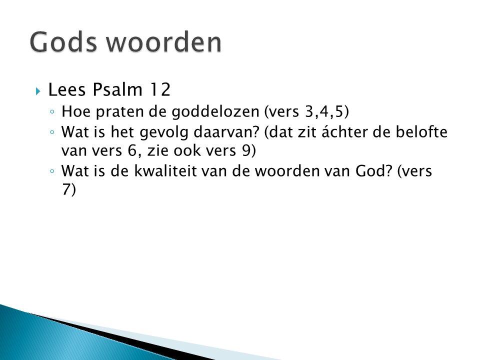  Lees Psalm 12 ◦ Hoe praten de goddelozen (vers 3,4,5) ◦ Wat is het gevolg daarvan.