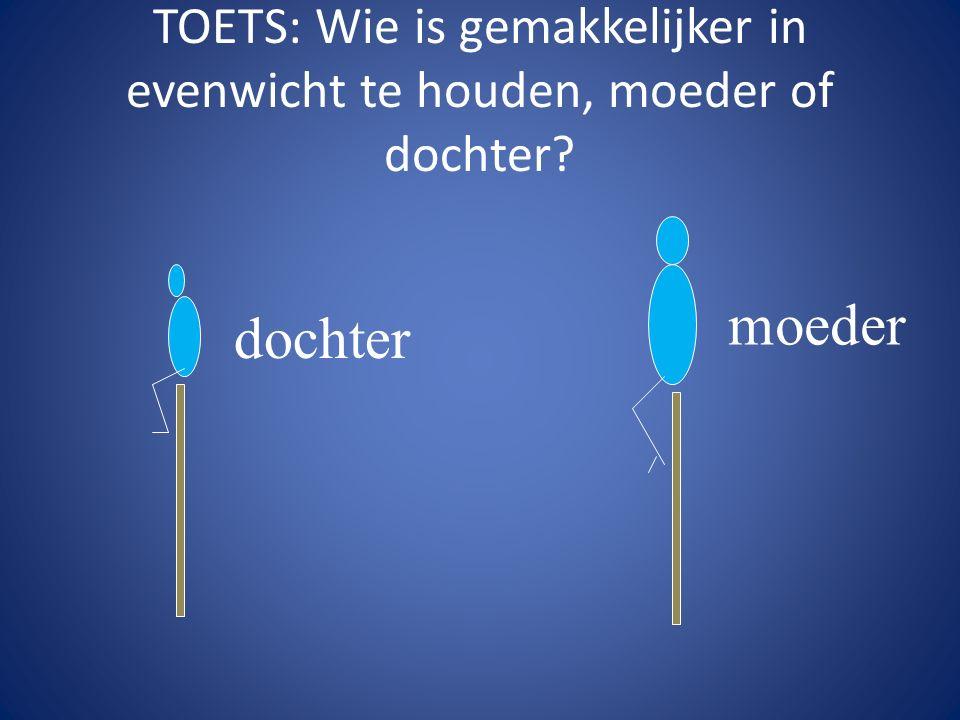 TOETS: Wie is gemakkelijker in evenwicht te houden, moeder of dochter? dochter moeder