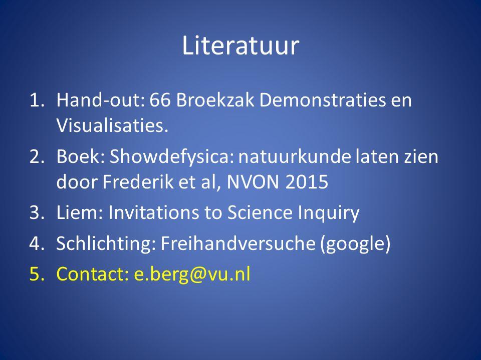 Literatuur 1.Hand-out: 66 Broekzak Demonstraties en Visualisaties.