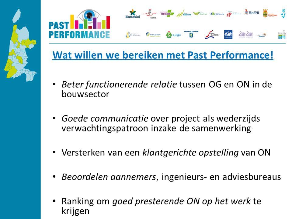Wat willen we bereiken met Past Performance.