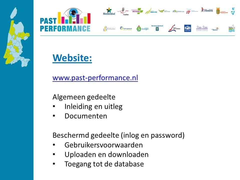 Website: www.past-performance.nl Algemeen gedeelte Inleiding en uitleg Documenten Beschermd gedeelte (inlog en password) Gebruikersvoorwaarden Uploaden en downloaden Toegang tot de database