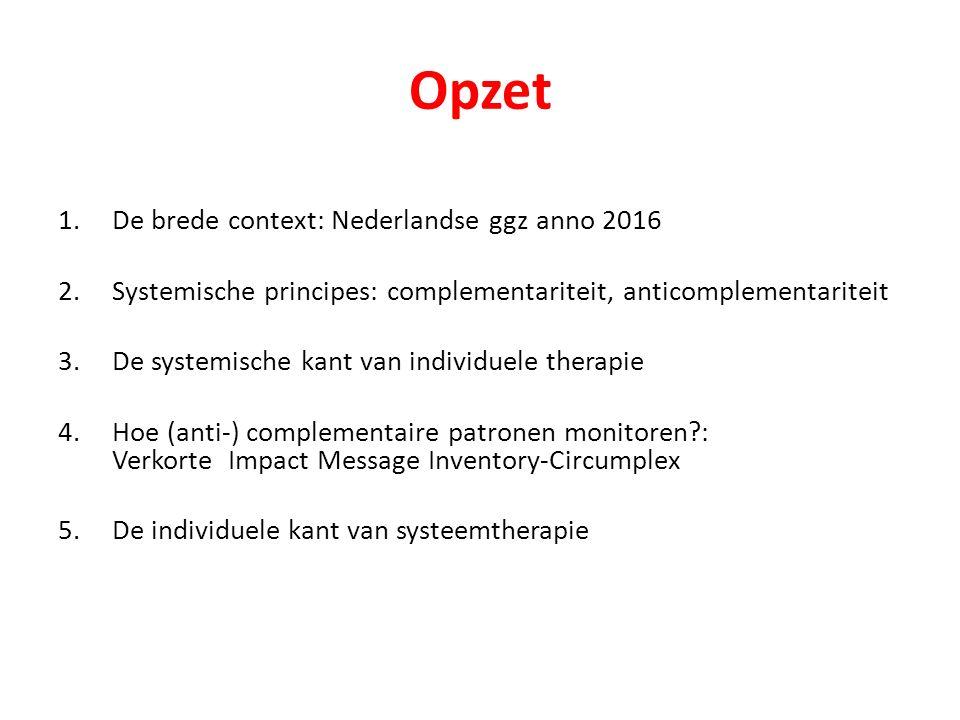 Opzet 1.De brede context: Nederlandse ggz anno 2016 2.Systemische principes: complementariteit, anticomplementariteit 3.De systemische kant van indivi