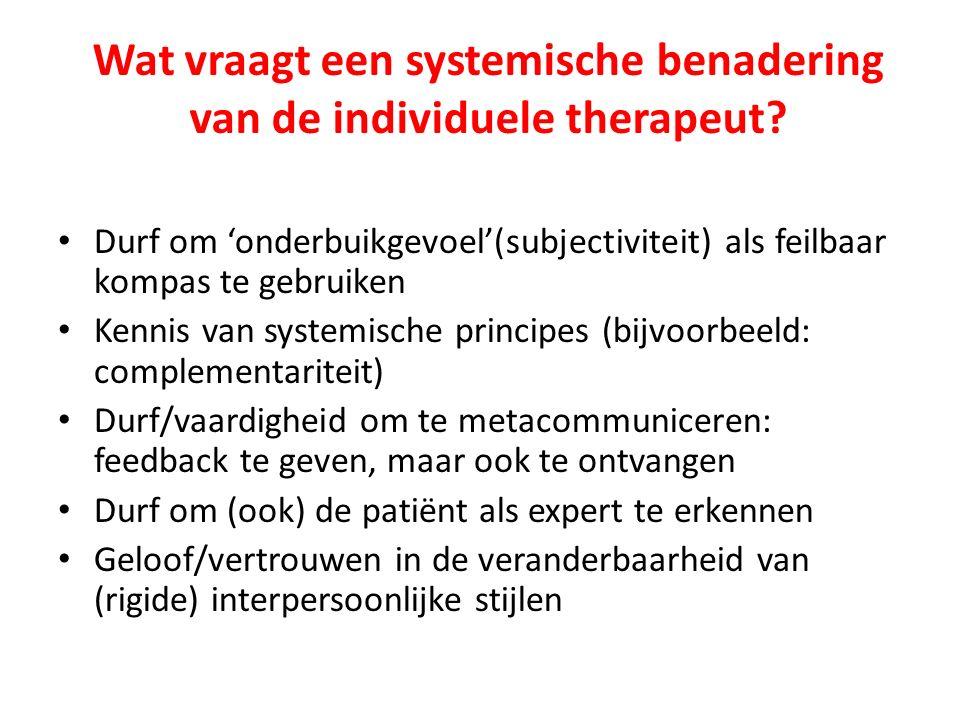 Wat vraagt een systemische benadering van de individuele therapeut.