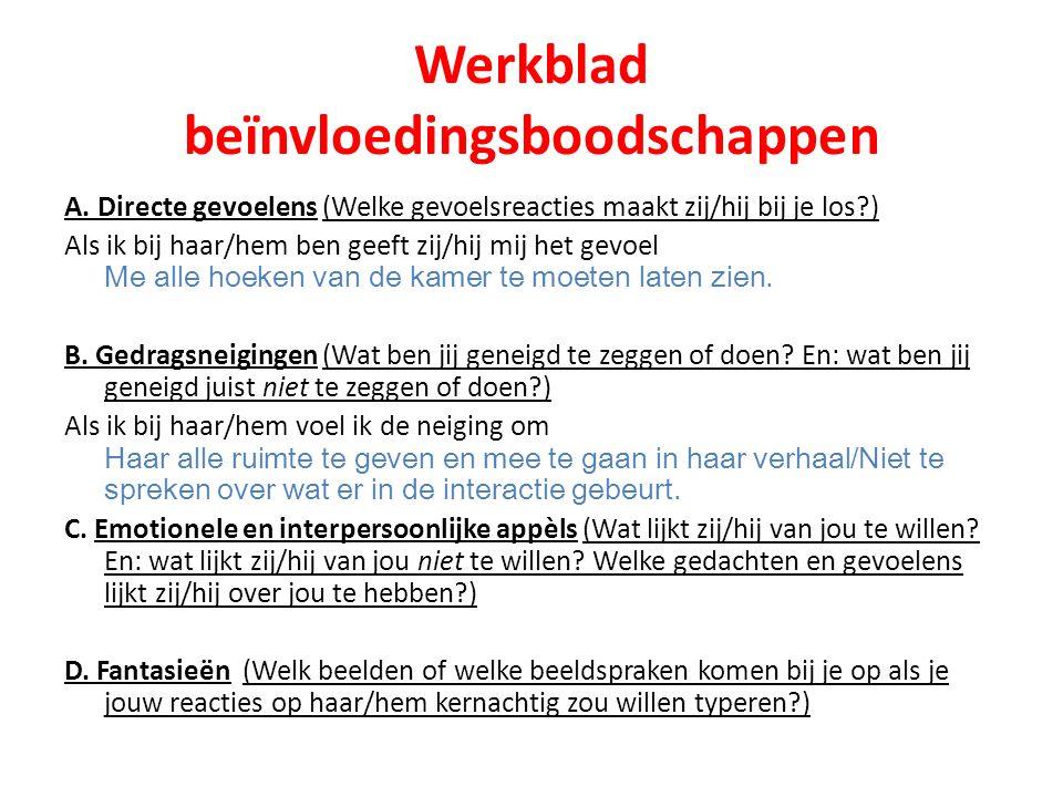 Werkblad beïnvloedingsboodschappen A.