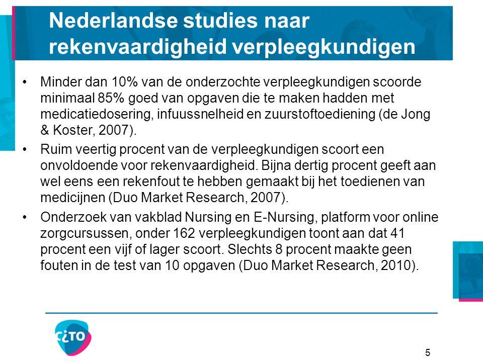 5 Nederlandse studies naar rekenvaardigheid verpleegkundigen Minder dan 10% van de onderzochte verpleegkundigen scoorde minimaal 85% goed van opgaven die te maken hadden met medicatiedosering, infuussnelheid en zuurstoftoediening (de Jong & Koster, 2007).