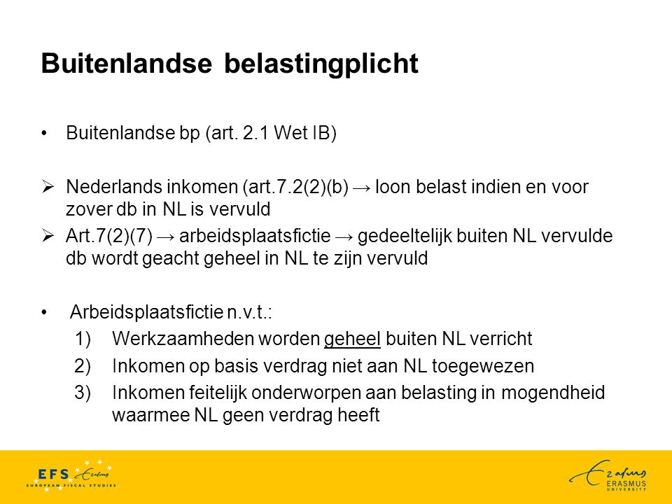 Europees recht/tegemoetkomingen Schumacker-arrest (14 februari 1995, zaak C- 273/93) Geen splitting -> geen inwoner Dld Binnenlandse bp en buitenlandse bp zijn in het algemeen geen gelijke gevallen -> dus: geen discriminatie (r.o.