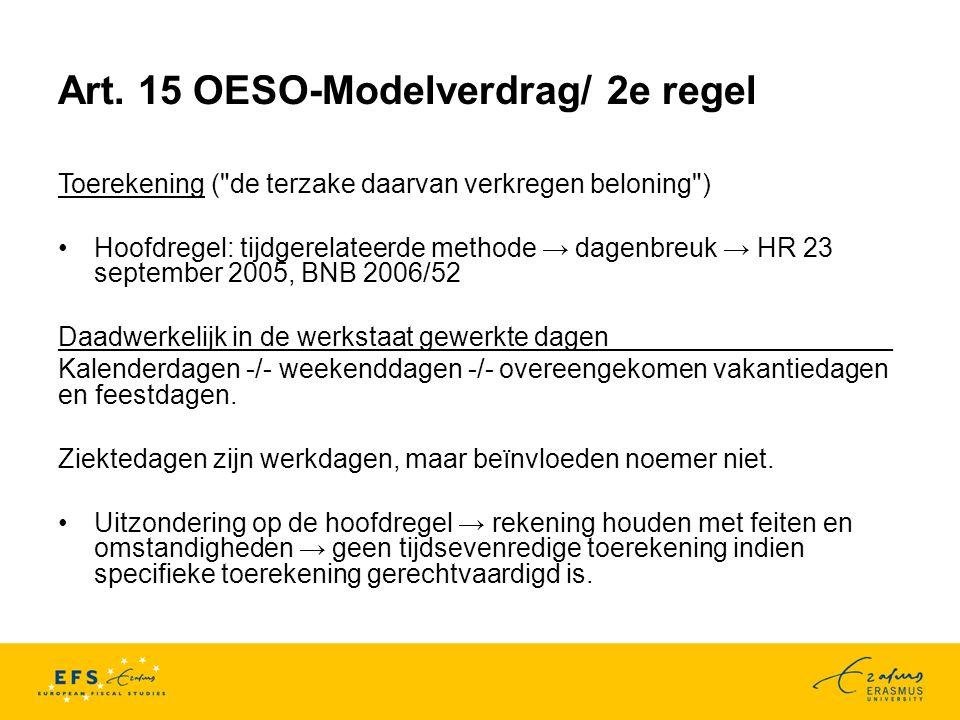 Art. 15 OESO-Modelverdrag/ 2e regel Toerekening (