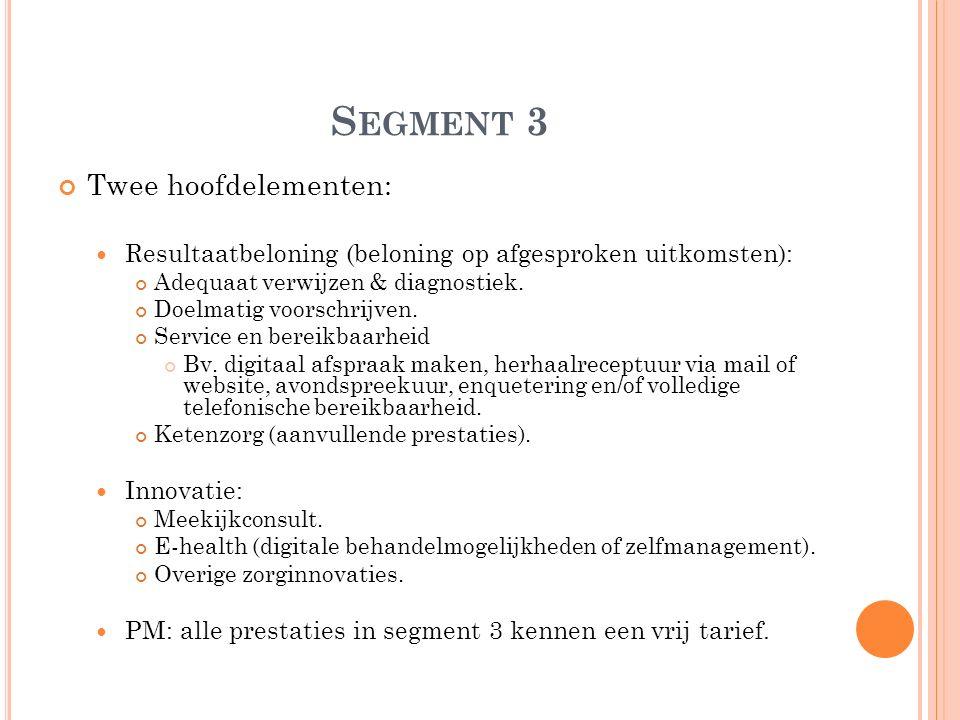 S EGMENT 3 Twee hoofdelementen: Resultaatbeloning (beloning op afgesproken uitkomsten): Adequaat verwijzen & diagnostiek. Doelmatig voorschrijven. Ser