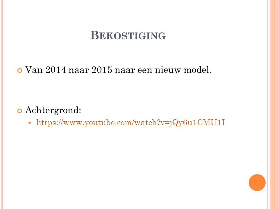 B EKOSTIGING Van 2014 naar 2015 naar een nieuw model.