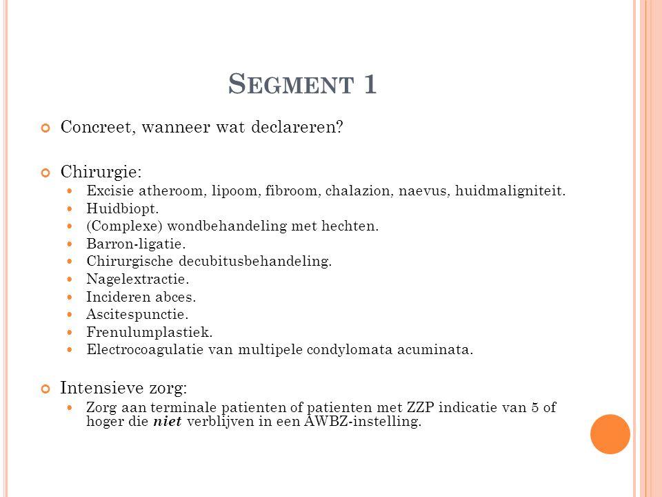 S EGMENT 1 Concreet, wanneer wat declareren? Chirurgie: Excisie atheroom, lipoom, fibroom, chalazion, naevus, huidmaligniteit. Huidbiopt. (Complexe) w
