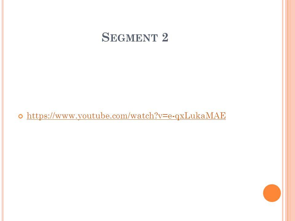 S EGMENT 2 https://www.youtube.com/watch?v=e-qxLukaMAE