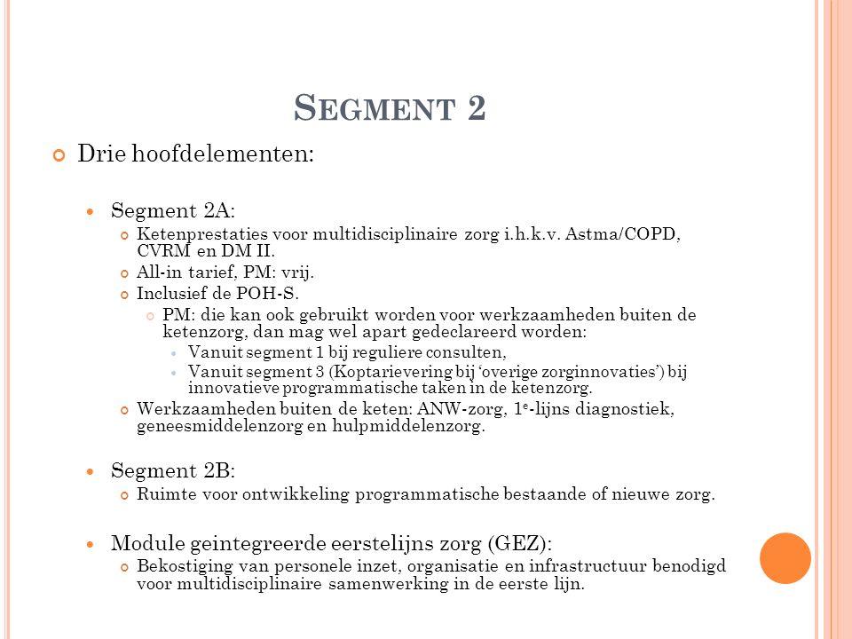 S EGMENT 2 Drie hoofdelementen: Segment 2A: Ketenprestaties voor multidisciplinaire zorg i.h.k.v. Astma/COPD, CVRM en DM II. All-in tarief, PM: vrij.